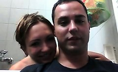 Hot naked couple making out in bathroom