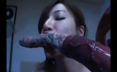 Busty young Asian gal gets penetrated everywhere by nasty