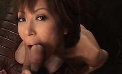 Japanese naked beauty licks cock with lust on knees