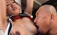 Asian pregnant babe in ropes gets tits milked and sucked