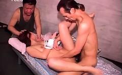 Jap bonded sex slave takes two dicks in hardcore 3some