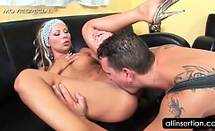 Blonde hooker eating cock gets snatch licked