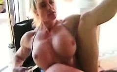 Bizarre mature amateur blonde milf muscle babe body builder