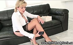 Busty brit Lady Sonia gets herself off