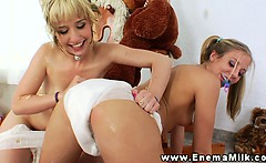Milk enema babe gets cereal over her ass