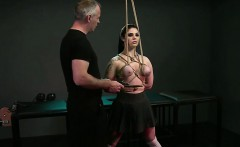 Tied up babe in rope bent over gets ass hook