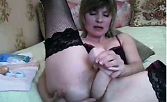 Mature Blonde Woman And Her Dildo