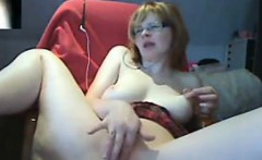 nerdy girl playing with her pussy