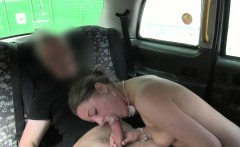 Pierced nipples amateur sucking big dick in fake taxi