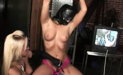 Blonde Chained And Wearing Hood Covered In Cum At Gangbang