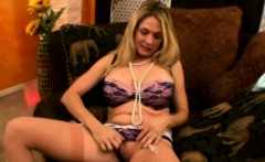 Sexy blonde housewife rubs her clit