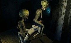3D brunette babe getting double teamed by aliens