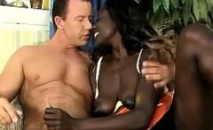 Bootylicious African babe seduces a lucky white perv