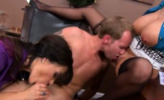 Busty CFNM femdom licked and fucked