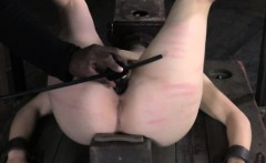 Head boxed slut getting caned by maledom dominant