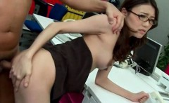 Rough anal in office for asian teen with glasses