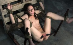 Pussy clamped sub handles butt plug and pussy hook