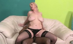 Big titted mature in stockings interracial fucked