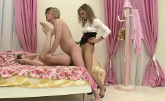 Blonde Domina Fucks Two Guys