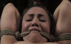 Elbow tied skank gets nipple clamps