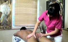 Busty cougar masseuse tugging dick