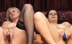 Sexy Lesbian milfs in stockings dildo together