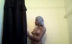 sexy busty big tit ebony babe takes a sexy shower