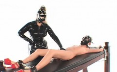 BDSM chained lesbian fucked with vibrating pussy pump