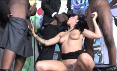 Tori Lux throated and facialed by multiple big black cocks