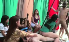 Group of CFNM party girls use two males for sex
