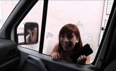 Cutie Tina Hot hitchhikes and pounded inside the car