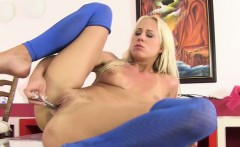 Beautiful pissing blonde in sexy nylons