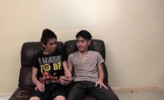 Asian twinks bind and cum