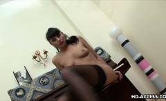 Very hot dark raven with sexy lingerie strips down