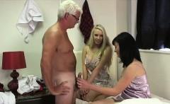 Naughty CFNM British girl deep throat sucks older guy's cock