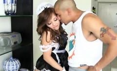 French maid Aurora Monroe gets her pussy pounded real hard