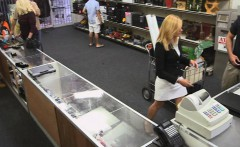 Sexy blonde milf pounded at the pawnshop to earn money