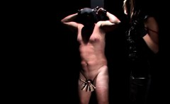 Chained male sex slave gets hard dick clipped