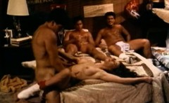 three guys takes turns fucking college babe in dorm room