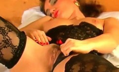 Vintage German slut in stockings masturbating