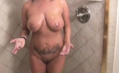 Soapy handjob milf in shower tugging on stepson
