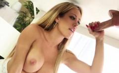 CFNM handjob blowjob busty blonde sucks