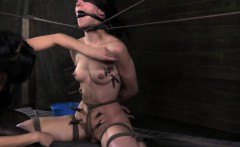 Bounded bondage sub Bonnie Day body clamped with wooden pegs