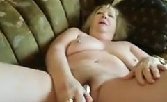 Fat Grandma Masturbates Using Her Toy