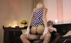 Threesome with blonde in stockings for mature British lady