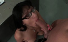 hot babe with glasses sucking cock