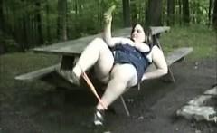 Chubby chick Outdoors Banana Masturbation