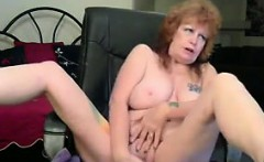 Dirty Tattooed Granny Plays With Her Dildo