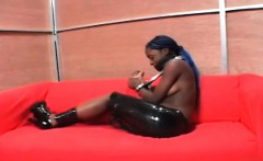 Topless ebony gets hands tied up and gagged