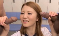 Hot Japanese schoolgirl gets fucked balls deep in gym class